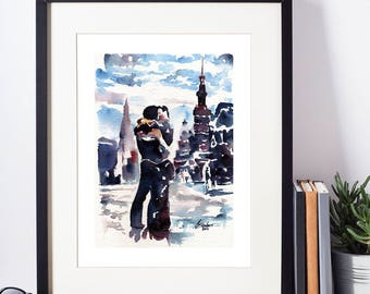 """Two Men in Love Kissing on the streets of Paris on a moonlit night - 8x10"""" Signed Art Print"""