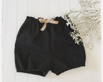 Black linen bloomers, baby black linen bloomers, black linen shorts, toddlers black bloomers. girls black linen bloomers, black linen shorts