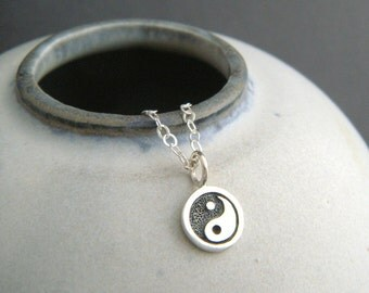 """tiny silver yin yang necklace. sterling zen yoga yogi balance jewelry simple Chinese symbol delicate charm everyday dainty jewelry gift 3/8"""""""