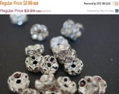 WINTER GEM SALE Silver Plated Rhinestone Rondelle Spacers (Curved Round) - 7mm - 15 pcs