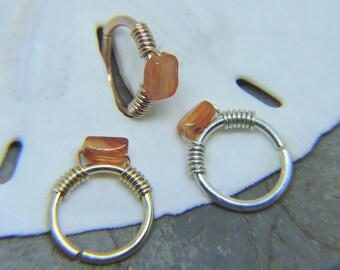 """Nose Ring - Seamless Hoop CARNELIAN Nose or Ear Jewelry - 18G 16G 14G 5/16"""" 3/8"""" Sterling Silver 14K Rose or Yellow Gold Fill Septum Ring"""