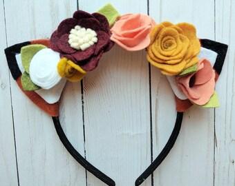 Fox Headband with Wildflowers
