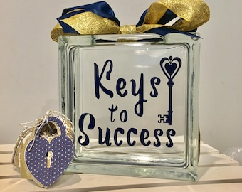 "Guest Book Wish Jar - Glass Block with ""Keys to success "" -Paper Locks in Coordinating Colors/ graduation , New Job/ Masters degree MBA"