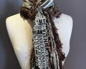 Fringe art scarf, Long scarf, Fringie, Traveler, Black ivory scarf, city print ribbon scarf, travel gift, taupe fashion, funky scarf, boho