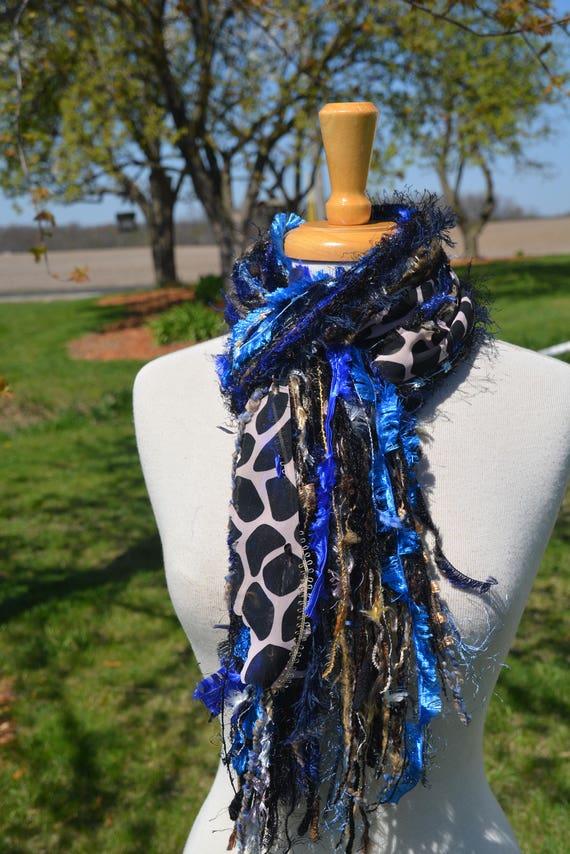 Fringie in Montana Giraffe, Handmade tied scarf, photo prop in Royal blue, brown, taupe, fringe scarves, boho, animal print scarves, tribal