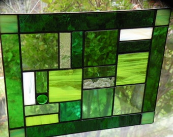Green Stained Glass Window Panel
