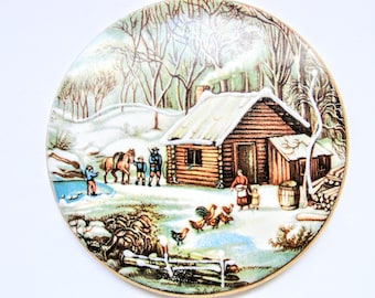 Currier Ives Vintage  HOME IN WILDERNESS Collector Plate