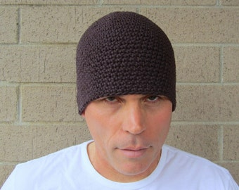 men's cotton beanie/ chocolate brown crochet