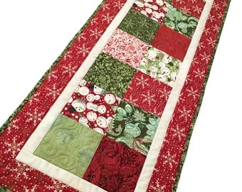 Christmas Charms Quilted Table Runner, Blitzen Fabric by Basic Grey for Moda Cotton Fabric - Red Green White Holiday Snowflakes Snowmen
