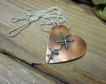 "Copper and silver ""mended heart"" pendant, heart pendant, copper necklace, broken heart pendant, metaljewelrydesigns, nickel free,"