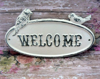Bird Welcome Cast Iron Sign Shabby Style Chic Creamy Off White Distressed Double Birds Garden Door Wall Plaque