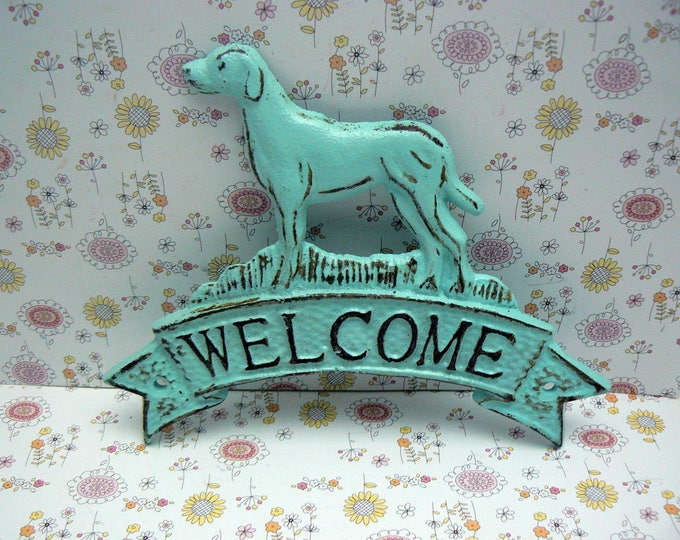 Dog Welcome Cast Iron Door Cottage Chic Home Decor