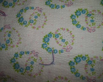 Vintage Baby Quilt ~ Summer Baby Quilt ~ Lightweight Baby Blanket ~ Hearts & Flowers ~ Vintage Plisse Fabric