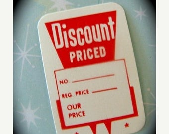 ONSALE One Dozen Darling Little Vintage Retro Tags, Discount Priced Red Price Tags
