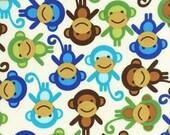 SALE FABRIC - Blue Monkeys - Urban Zoologie by Ann Kelle for Robert Kaufman Fabrics - 100% Cotton fabric - Blue, Aqua Monkeys - HALF Yard