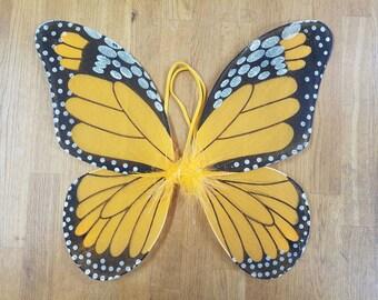"""Orange Butterfly Wings - Orange Monarch Butterfly Wings - Butterfly Costume Wings - Kids Butterfly Wings - Toddler Butterfly Wings - 13""""x15"""""""