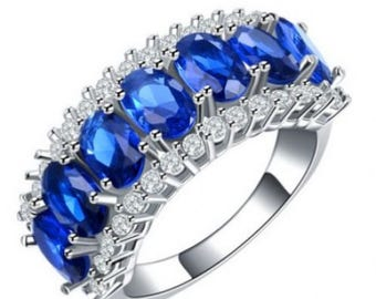 18K White Gold ~ Plethora of Stunning Marquis Cut LAB Created Blue Sapphire  ~  Pave CZ's~18K White Gold Plate Ring~ Size 8