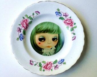 Blythe Doll Vintage Plate Altered Art - pop art wall hanging plate