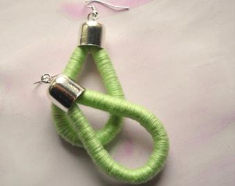 Drop Earrings - ThousandTwist Classic in cotton- Fiber earrings - Green Pastel - Pop, Casual, Chandelier earrings by FridaWer