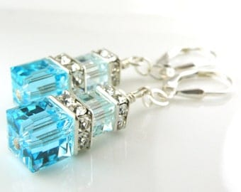 Teal Crystal Earrings, Sterling Silver, Aquamarine Swarovski Cube Turquoise, Blue Topaz, Spring Wedding Jewelry March December Birthday Gift