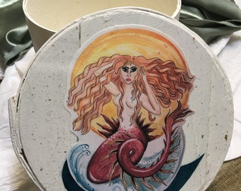 Scarlett Boho Fantasy Redhead Mermaid Art Round Box