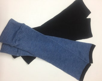 2 Pair Handmade Baby Toddler Child Leg Warmers / Arm Warmers - Black & Blue