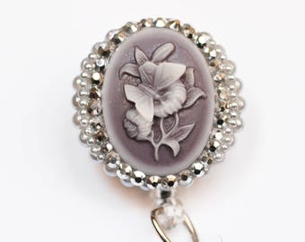 Butterfly And Flower Cameo ID Badge Reel - Retractable ID Badge Holder - Zipperedheart