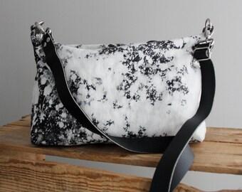 Bleached Denim Acid Wash Purse Day Bag Medium Black