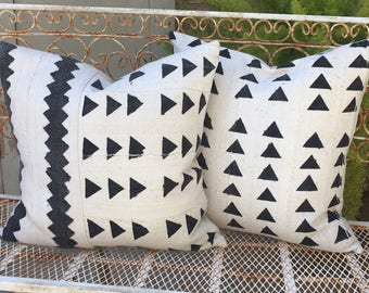 Pair of Authentic African Tribal Mudcloth Pillow Covers Set of Two    Both 19x19  Triangle and Zigzag Design  Boho / Modern / Farmhouse