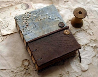 Awaken - Vintage Linen & Leather Journal, Hand Aged Eco Pages - OOAK