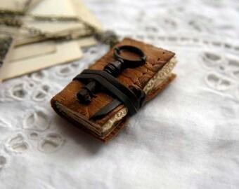 The Petite Poet - Miniature Wearable Book, Vintage Brown Leather, Tiny Vintage Key. OOAK