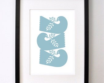 3 Doves in Soft Blue - Open Edition Giclee Print