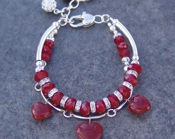 Red Hot Hearts - Sterling Silver Double Strand Bracelet
