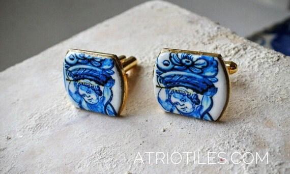 Portugal Antique Azulejo Tile Replica CUFF LINKS- CASCAIS  Cherub Angel Ruins  History Evening Suit Cufflinks Men Women Unisex Gift Box