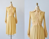 Vintage 1970s Dress / 70s Dress / Long Sleeves / Wheat