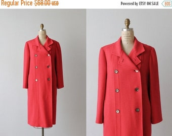 30% Off SALE Red Wool Coat / 1960s Coat / Dress Coat / Double Breasted / Berry