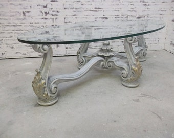 Coffee Table, Weathered Grey Baroque Style - TB1003 Shabby Cottage Chic, French Country, Glass Top