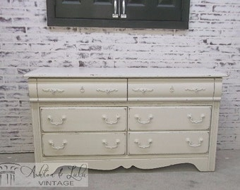 Double Dresser, Distressed White Cottage Style DR901 Shabby Vintage Farmhouse Chic