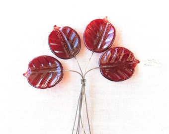 Lampwork Leaf Headpin Bundle Set of 4 SRA Bing Cherry - #171