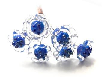 NEW Posie Lampwork Headpins, Flower Headpins, Daisy Lampwork Head Pins, Blue Lampwork Pins, Set of 6 by Dry Gulch, Pedal Faster #517