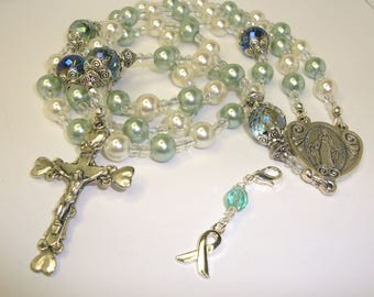 Catholic Rosary, Teal and white pearls alternating, Miraculous, Breast Cancer, strung, Abundant Grace Rosaries, ovarian ribbon bookmark