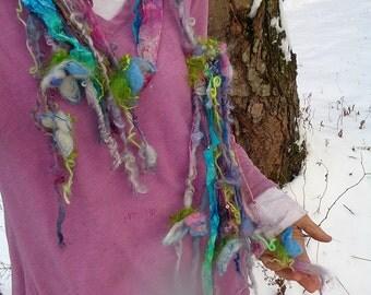 RESERVED - silk scarf lariat fantasy fiber art yarn braid garland scarf adornment - watercolour dream garden