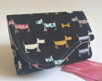 Funny Business Card Wallet in Weiner Dogs on Black Print - Lil Scotties