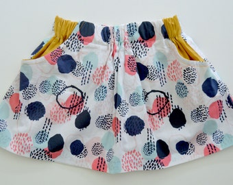 Girls Abstract Boho Party Skirt with Mustard Linen Pockets. 12mths-8 years