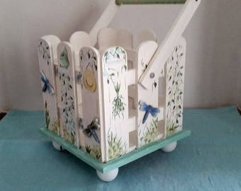 Vintage White and Green Picket Fence Planter Basket