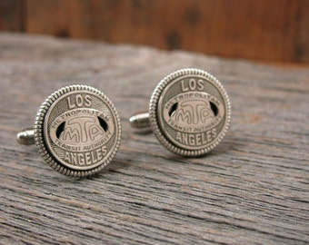 Coin Jewelry - Transit Token Jewelry - Men's Cuff Links - Gift for Man - Genuine Los Angeles California MTA Transit Token Cuff Links