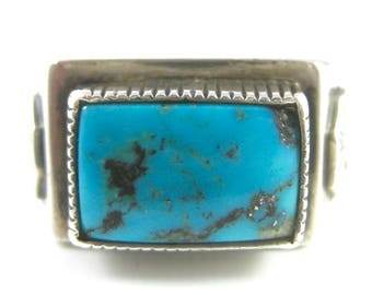 Size 13 1/2 Vintage Mens Turquoise Sterling Silver Ring Rectangle Ring Band