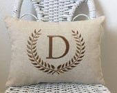 Laurel Wreath Monogrammed Lumbar Pillow INSERT INCLUDED Natural Decorator Cotton Nine Colors