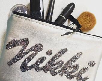 Custom Made Vegan Leather Personalised Makeup Cosmetics Bag