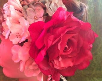Dark Pink Rose Hair Clip